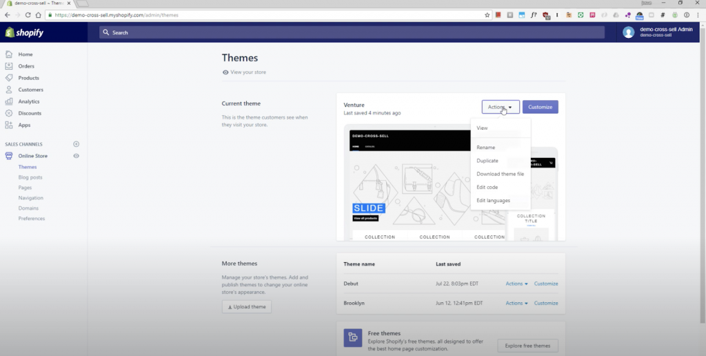 Cross Sell Themes Page